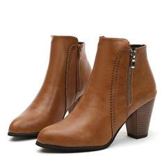 Női PU Tűsarok Chunky sarok Bokacsizma -Val Cipzár cipő