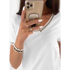 Egyszínű V-nyak Rövidujjú Μπλουζάκια