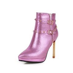 Femmes Vrai cuir Similicuir Talon stiletto Bottines avec Boucle chaussures