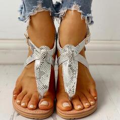 Women's PU Flat Heel Sandals Peep Toe With Rivet Buckle Animal Print shoes