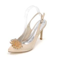 Frauen Satin Stöckel Absatz Geschlossene Zehe Absatzschuhe Sandalen mit Strass