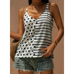 PolkaDot Striped Spaghetti Straps Sleeveless Tank Tops