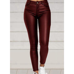Einfarbig Übergröße Elegant Sexy Leder Hosen