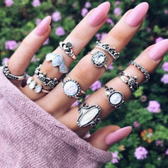 Stylish Alloy With Imitation Stones Jewelry Sets Rings (Set of 12 pairs)