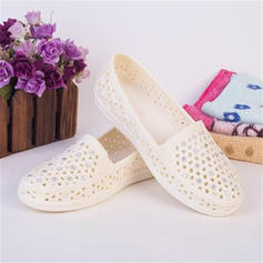 Women's Plastics Flat Heel Flats With Satin Flower Hollow-out shoes