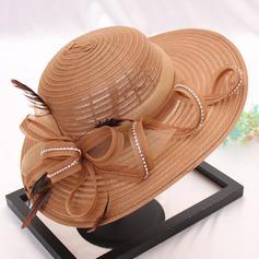 Dames Style Classique/Fait main Batiste/Organza avec Fleur en soie Chapeaux de plage / soleil