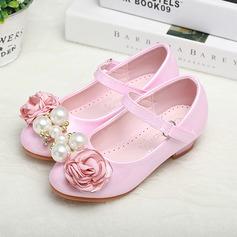 c216045c71a ... Κορίτσι Λείαντο Χαμηλή τακούνια Κλειστά παπούτσια Διαμερίσματα Κορίτσι  λουλουδιών Με Πόρπη Απομιμήσεις Pearl Σατινέ λουλούδι ...
