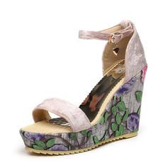 Mulheres Camurça Plataforma Sandálias Calços Peep toe sapatos