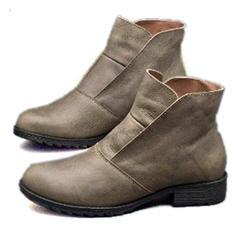 Frauen PU Flascher Absatz Stiefel Stiefel-Wadenlang mit Schnalle Schuhe