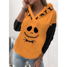 Color Block Dyr Halloween Lange ærmer Hoodie