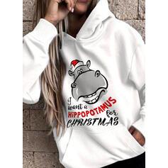 Animal Print Figure Pockets Long Sleeves Christmas Sweatshirt