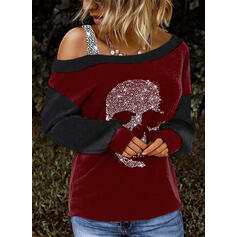Color Block Sequins One-Shoulder Long Sleeves Casual Blouses