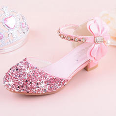Girl's Leatherette Sparkling Glitter Low Heel Round Toe Closed Toe Flats Flower Girl Shoes With Bowknot