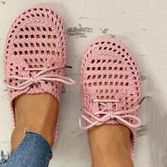Dla kobiet PVC Nieformalny Z Sznurowanie Tkanina Wypalana obuwie
