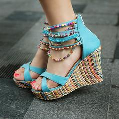 Women's PU Wedge Heel Sandals Platform Wedges Peep Toe With Zipper shoes
