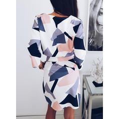 Geometric Print 3/4 Sleeves Sheath Knee Length Casual Dresses