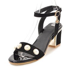 Femmes Suède Talon bottier Sandales Escarpins À bout ouvert avec Perle d'imitation Boucle chaussures