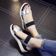Women's PU Flat Heel Sandals Flats With Elastic Band shoes