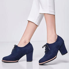 Women's Suede Chunky Heel Ankle Boots With Lace-up shoes