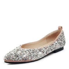Women's Leatherette Flat Heel Flats With Sequin
