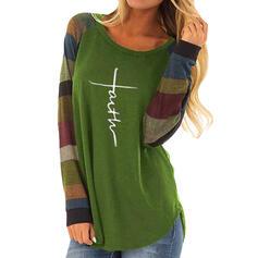 Print Color block Rund hals Lange ærmer Casual Strikning T-shirts