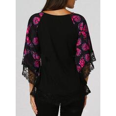 Print Lace V-Neck Flare Sleeve 3/4 Sleeves Casual Elegant Plus Size Blouses