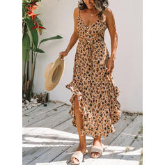 Leopard Sleeveless A-line Casual/Vacation Midi Dresses