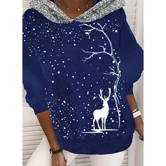 Animal Print Sequins Long Sleeves Christmas Sweatshirt
