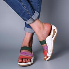 Femmes PU Talon compensé Sandales À bout ouvert Chaussons avec Ouvertes chaussures