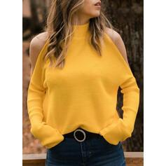 Einfarbig Kalte Schulter Stehkragen Freizeit Pullover