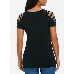 Sólido Cuello redondo Manga corta Casual camiseta