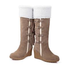Mulheres PU Plataforma Botas na panturrilha Botas de neve com Aplicação de renda sapatos