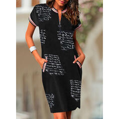 Print Short Sleeves Bodycon Knee Length Casual Pencil Dresses