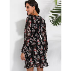 Floral Long Sleeves A-line Knee Length Casual Dresses