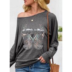 Nadruk Dekolt typu Carmen Długie rękawy T-shirty