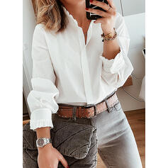 Solid Stand collar Long Sleeves Button Up Casual Shirt Blouses