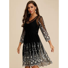Embroidery 3/4 Sleeves A-line Knee Length Casual/Party/Elegant Dresses