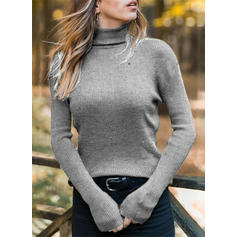 Solid Ribbed Turtleneck Sweaters