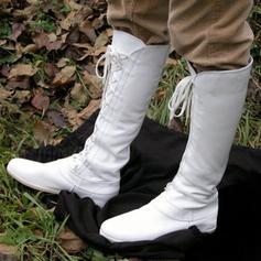 Femmes Similicuir Talon plat Bottes Bottes hautes avec Dentelle chaussures