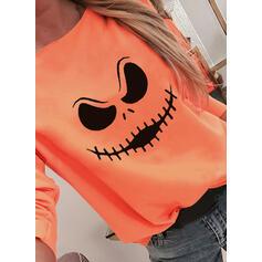 halloween Impresión Cuello Redondo Manga Larga Camisetas