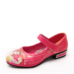 Girl's Leatherette Low Heel Round Toe Mary Jane Flats Flower Girl Shoes With Velcro