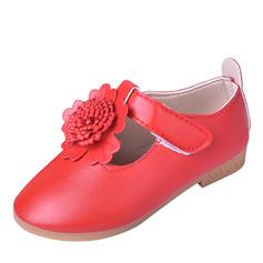 Muchacha Kunstleder Encaje Punta Cerrada Planos Zapatos de niña de las flores con Velcro Flor