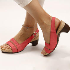 Women's PU Low Heel Sandals Peep Toe With Buckle shoes