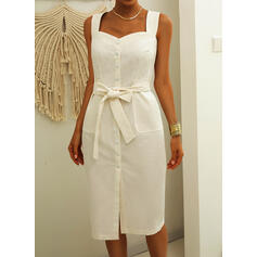 Solid Sleeveless Sheath Casual/Vacation Midi Dresses