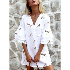 Animal Print 3/4 Sleeves/Flare Sleeves Shift Above Knee Casual/Elegant Dresses