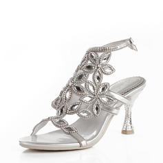 Dla kobiet Skóra ekologiczna Szpilki Peep Toe Pompy Sandały Pantofle Z Klamra Rhinestone