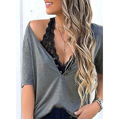 Solid V-Neck Short Sleeves Button Up Casual Basic Blouses