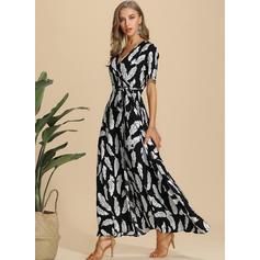 Print 1/2 Sleeves A-line Maxi Casual/Elegant Dresses