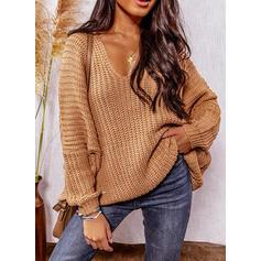 固体 リブ編みの Vネック カジュアル セーター