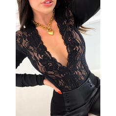 Solid Lace V-Neck Long Sleeves Sexy Blouses